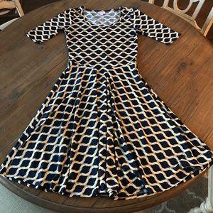 LuLaRoe S Nicole dress- navy, white & gold pattern